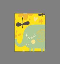 韩国可爱插画田园大象记事本封面 CDR