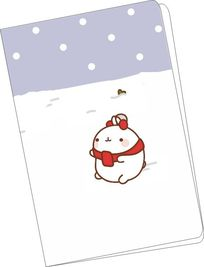 韩国可爱插画雪地兔子记事本封面 PSD