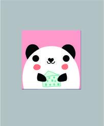 韩国可爱卡通吃蛋糕的熊猫记事本子图案 AI