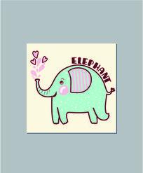 韩国可爱卡通大象记事本封面图案设计 AI