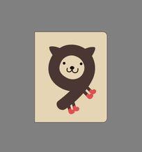 韩国趣味创意数字9本册封面 CDR