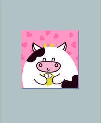 喝椰子汁的小牛本册设计 AI