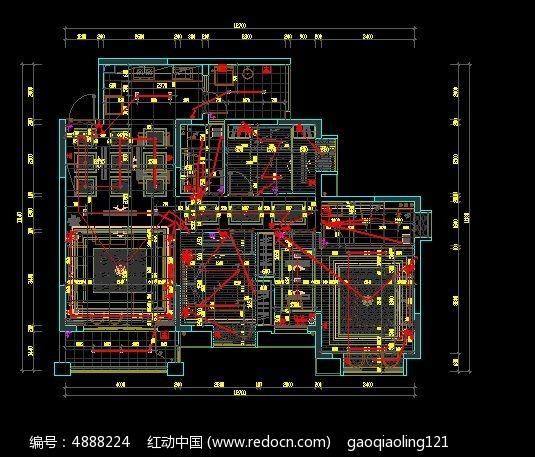 电机图纸走线尺寸v电机户型潜油家装cad图纸图片