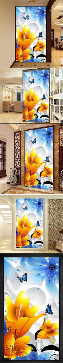 梦幻花朵3D立体玄关背景墙