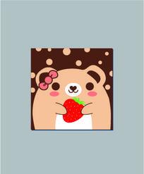 拿草莓的小熊记事本封面