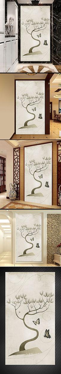 手绘现代大树玄关背景墙