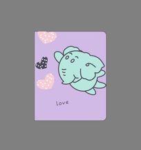 韩国可爱插画飞天大象记事本封面 CDR