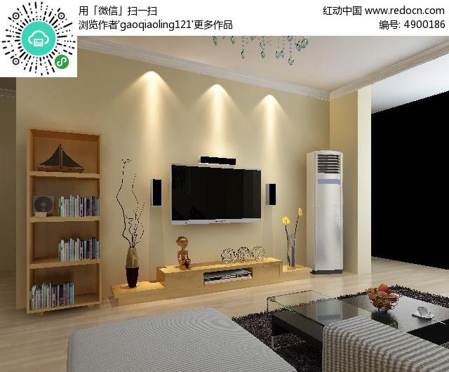 小户型客厅背景墙造型模型