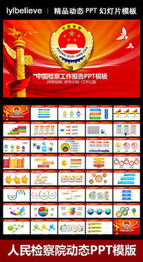 彩色图表中国检察院检察机关动态PPT模版