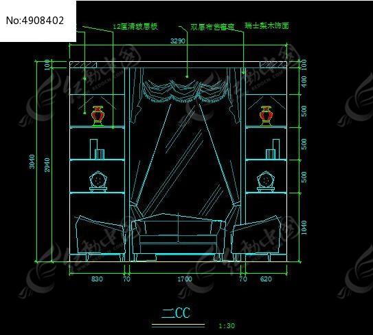客厅装饰柜立面图纸_CAD图纸图片素材六朝图纸博物馆图片