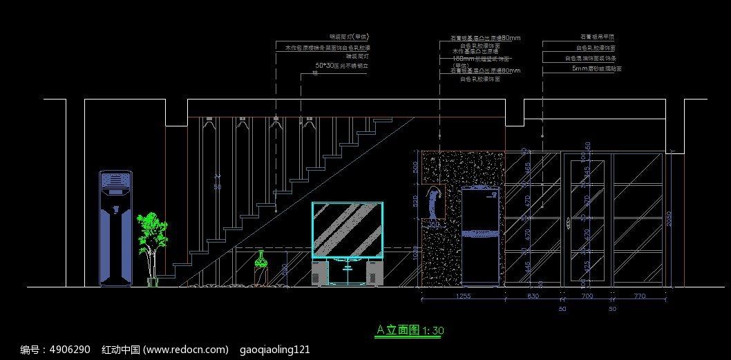 楼梯电视墙造型设计图纸db9cad图纸图片