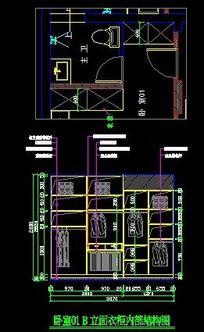 主卧室衣柜施工设计图纸