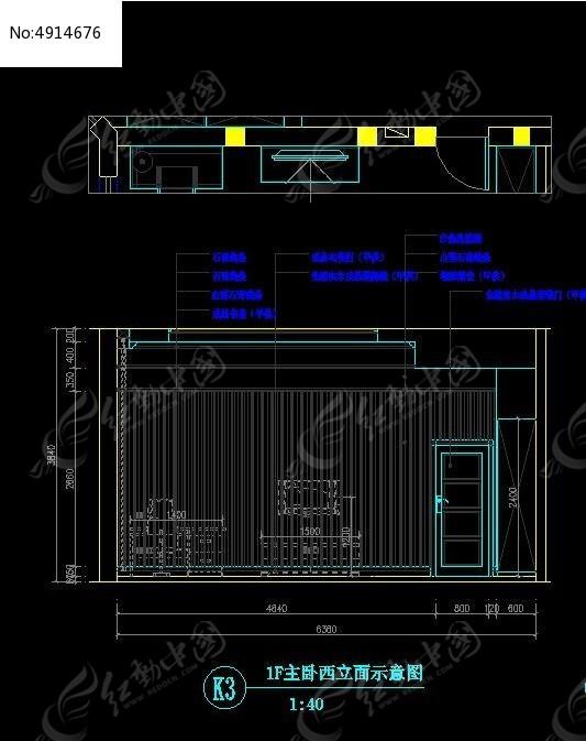 1F主图纸西立面示意图_CAD图纸图片素材3.13的裁缝卧室图片