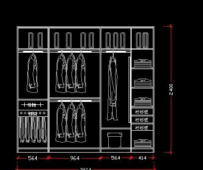2.6米宽衣柜立面图