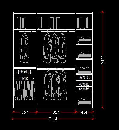 2米衣柜 施工 设计 图纸 CAD图纸图片素材
