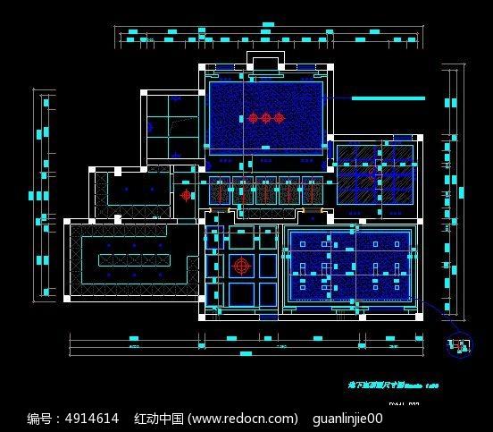 别墅地下室顶面吊顶尺寸图CAD素材下载 编号4914614 红动网
