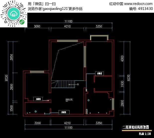 别墅二层 装修原始结构 图 CAD图纸