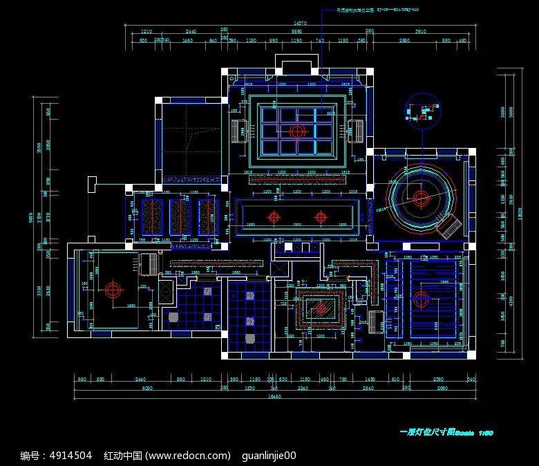 别墅一层灯具定位尺寸设计图