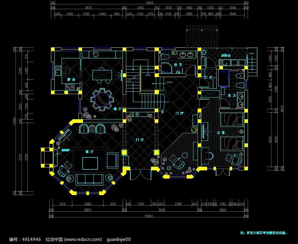 别墅一层装修平面设计图
