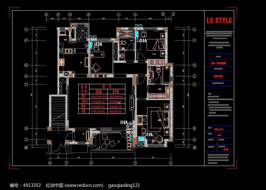别墅装修图纸布置三个_CAD空调图片素材的图纸图纸视图符号图片