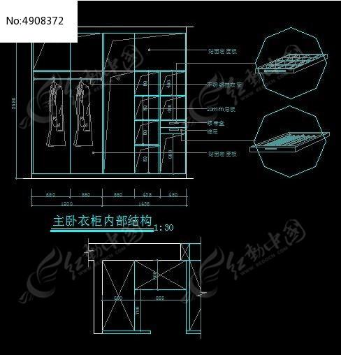 别墅主图纸卧室内部结构图uasb免费衣柜图片