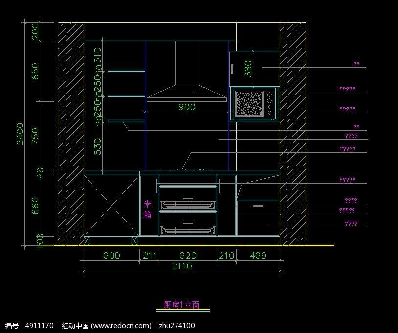 橱柜内部结构图cad素材下载 (814x680)-室内设计