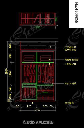 次卧室2衣柜立面图