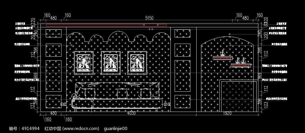 地中海风格客厅装修设计图纸