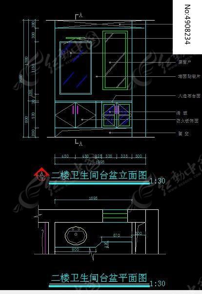 图纸卫生间台盆立面软件天正转二楼cad文件图片
