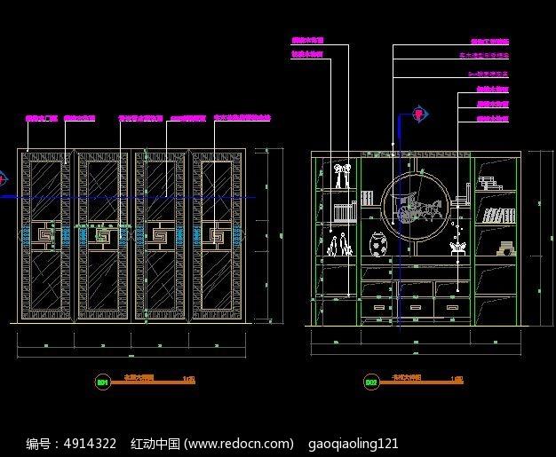 a别墅中式别墅装饰柜设计图_CAD图纸图片素材图纸机柜机箱钣金下载图片