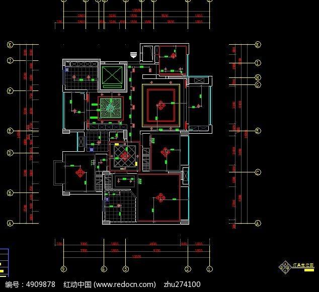 原创设计稿 cad图库 室内装修 户型灯具布置图纸  请您分享: 素材描述