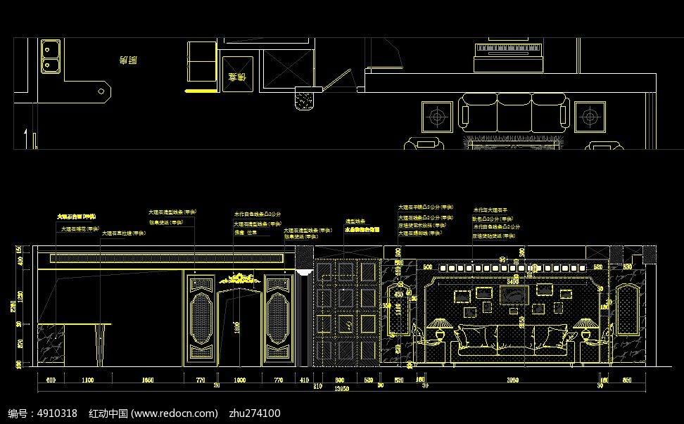 欧式风格墙面装修设计图纸CAD素材下载 编号4910318 红动网