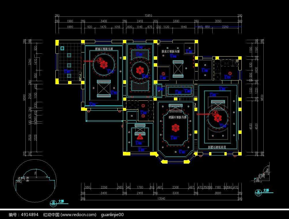 欧式豪华造型吊顶设计图CAD素材下载 编号4914894 红动网