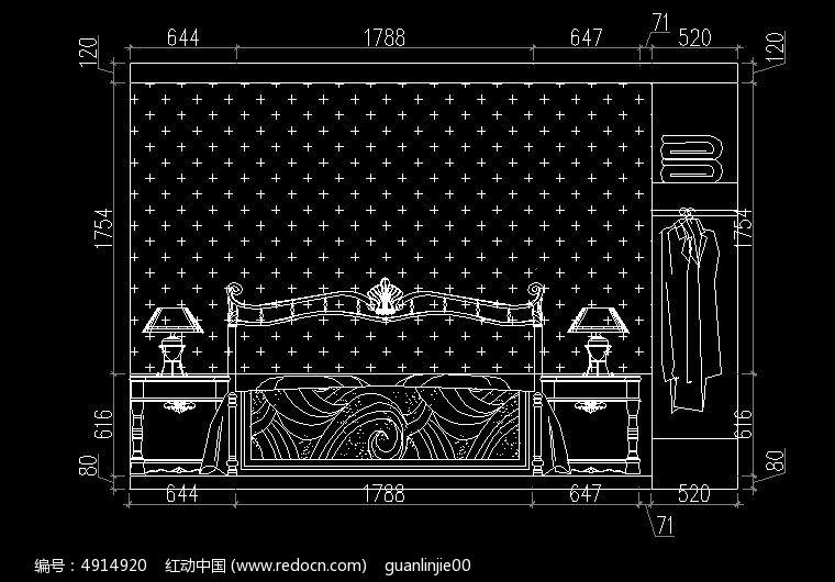 欧式卧室床头背景立面图cad素材下载