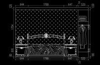 欧式卧室床头背景立面图