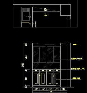 欧式鞋柜立面施工图纸 CAD
