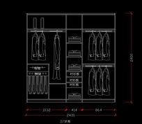 三门2.4米宽衣柜施工图纸 CAD