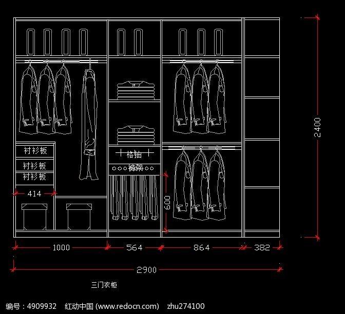 三门衣柜内部设计 图纸 CAD 图纸图片素材