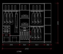 三门衣柜内部设计图纸