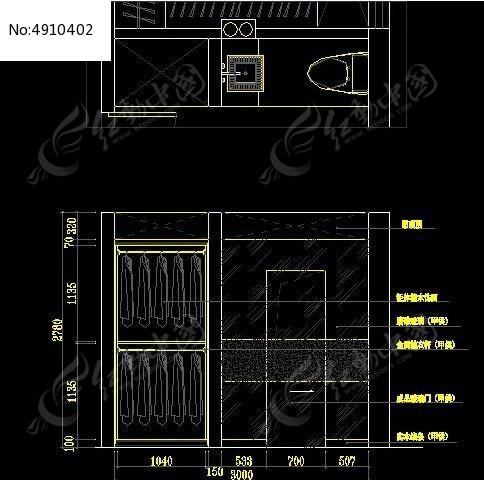 卫生间墙面装修设计图纸_cad图纸图片素材