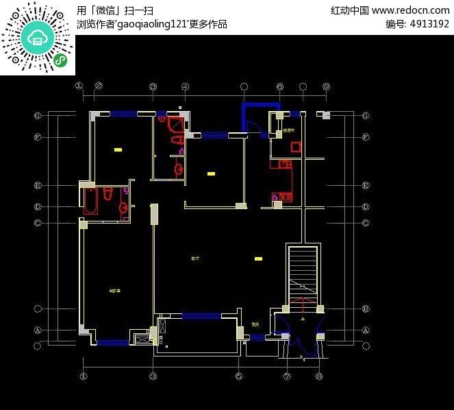 小户型原始 框架 结构图 CAD图纸图片素材