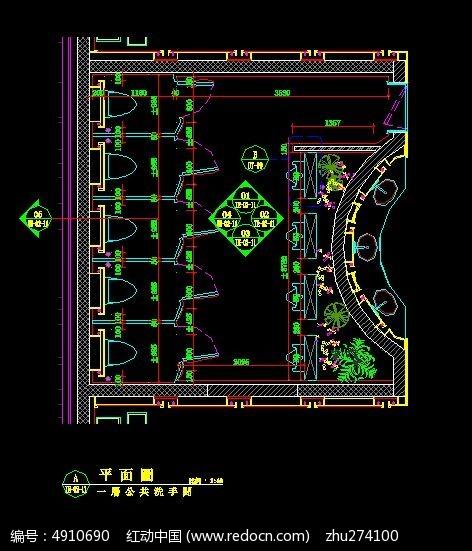 一层公共洗手间平面图设计十字_CAD图纸图纸设计图纸图片弩图片