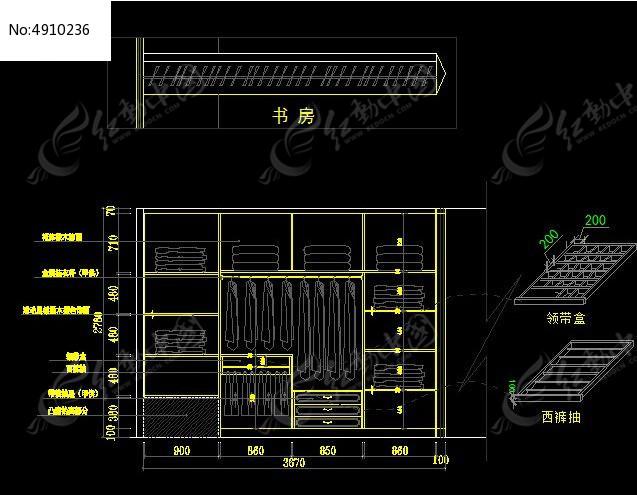 是衣柜结构尺寸设计图纸,编号是4910236,文件格式是cad,请使用autocad图片