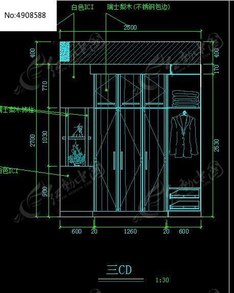图纸装饰柜立面钢材_CAD图纸图片素材规格衣柜图纸图片