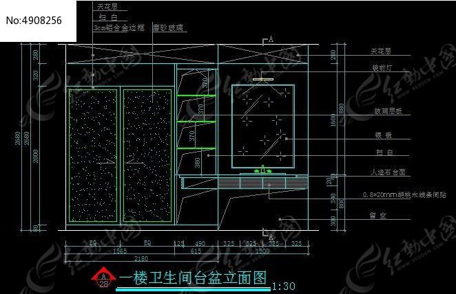 一楼卫生间台盆立面图纸_CAD界面图片素材cad图纸完全覆盖v图纸图片