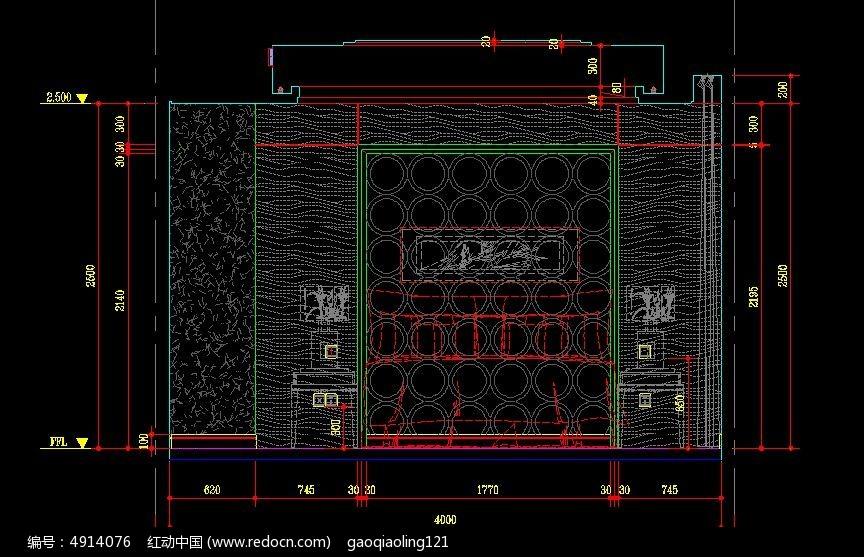 中式别墅 卧室床头背景 立面图 CAD 图纸图片 素材