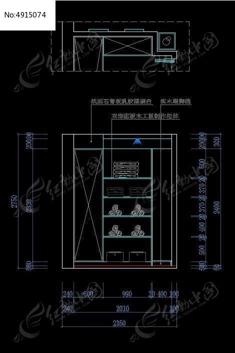 装饰柜立面尺寸设计图纸CAD素材下载 室内装修设计图片