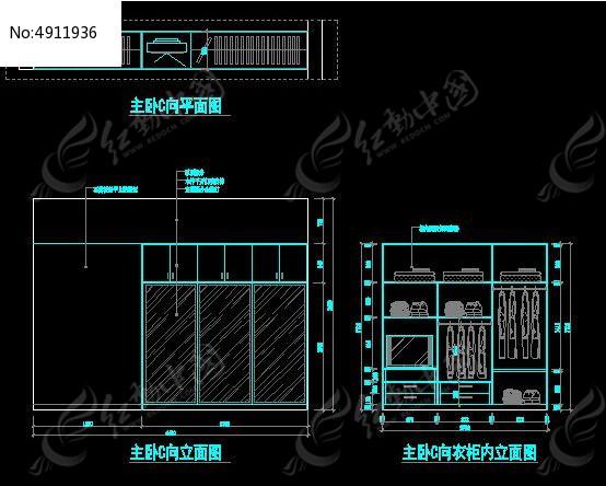 主卧室衣柜内部设计图纸图片