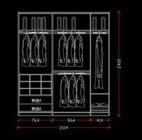2.1*2.4米宽衣柜立面设计图纸 CAD