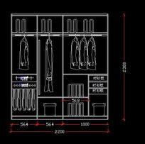 2.2*2.4米宽衣柜内部的结构设计图